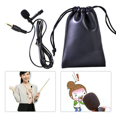 Mini 3.5mm Tie Clip on Mic Lapel Lavalier Microphone For Smart iPhone PC Laptop