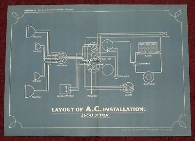 WIRING DIAGRAM Vintage. Layout of A.C. Installation LUCAS SYSTEM circ.1928. #788