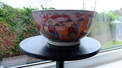 New Hall porcelain bowl. Boy in the window. Pat no..425