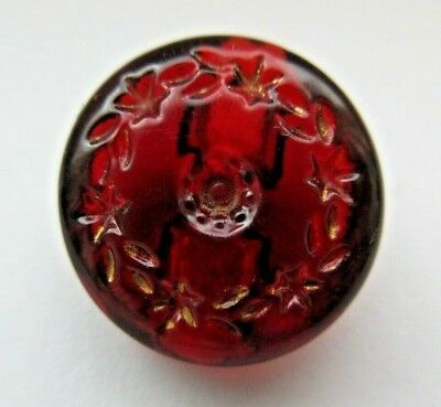 Elegant Antique~ Vtg Victorian Ruby Red GLASS BUTTON Incised Floral Wreath (D)