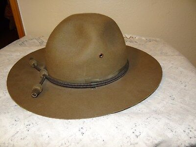 Vintage John B Stetson military officer hat campaign WWI ? w/ cords size ?