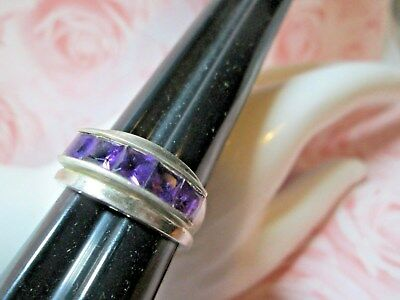 Old STERLING SILVER RING*5 SQUARE Facetted PURPLE Stones  *sz 9*   1683