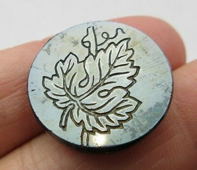 Beautiful Antique~ Vtg Victorian Black GLASS Picture BUTTON Incised Leaf (E)