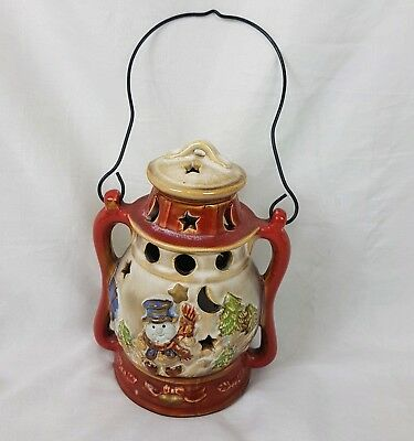 Ceramic Oil / Tilly Lamp shaped CHRISTMAS TEALIGHT CANDLE HOLDER Snowman
