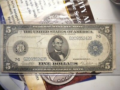 1914 Five Dollar Bill Vg Condition