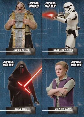 THE FORCE AWAKENS SERIES TWO: Lot of 4 Character Sticker cards
