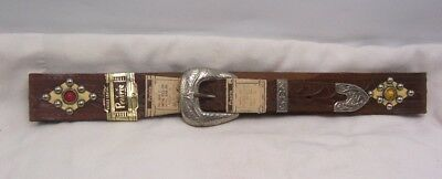 1950's Prairie Western Belt New Old Stock w Tags Jeweled & Studs Bridle Leather