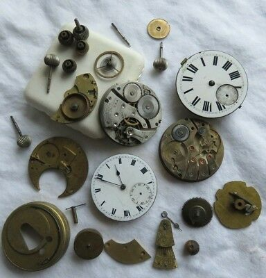 ANTIQUE LOT WALTHAM POCKET WATCHES MOVEMENT's  DIAL WINDER's  SPARES &  REPAIR