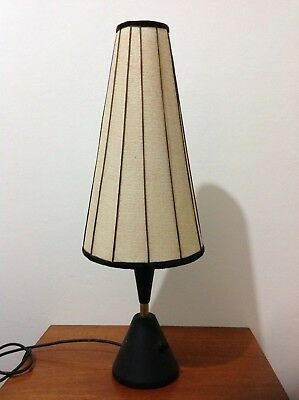Vintage Mid Century 1950s Atomic French Table Lamp with Original Shade