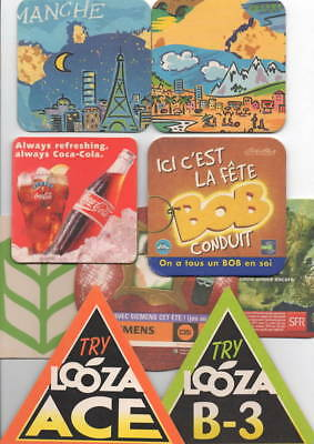 Lot De  9  Sous Bocks Coca-Cola  Biere  Eau Boisson  Sfr Siemens Try Looza Ace