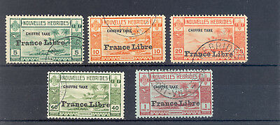 French New Hebrides Sg Fd 77-81 Gvi Postage Dues 1941 France Libre Fine Used