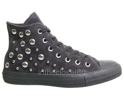 686214205bb2 Converse All Star Chuck Taylor CT Hi Studded Black Grey Suede Leather  163024c