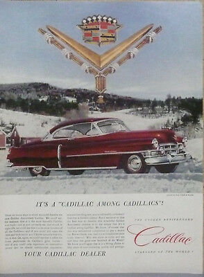 1952 Cadillac Coupe DeVille Print Ad (Red)