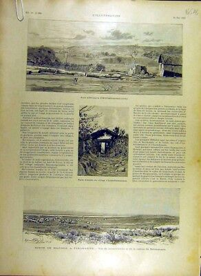 Original Old Antique Print 1895 Madagascar Majunga Route Africa French 19th