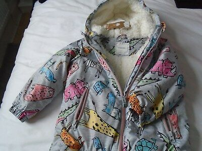 Brand New Next Little Girls Fur Lined Hooded Jacket Age 3-4 Years
