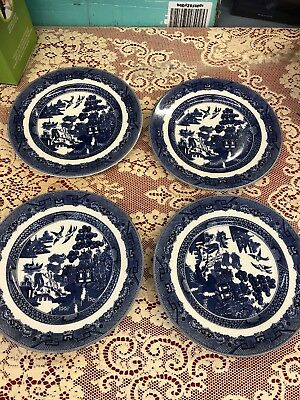 Set of 4 England Blue Willow 8 inch  Salad Plates Great condition