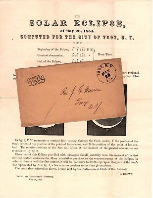 "ANNULAR SOLAR ECLIPSE circular May 26 1854 w/ env ""TROY NY MAY 25 1ct."" NEW YORK"