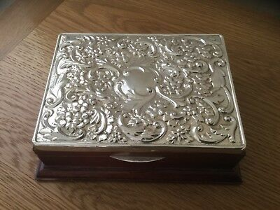 Embossed Carrs Silver Jewellery Box - Hm 1992