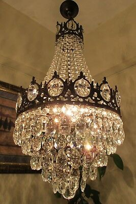 Antique Vintage French Basket style Crystal Chandelier Light LAMP 1940's 14 in..