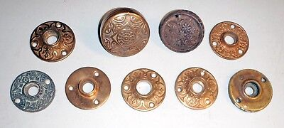 Antique Restoration Hardware (9) Victorian Ornate Brass Door Knobs & Plates
