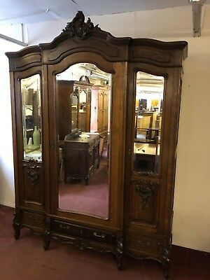 Stunning French Carved Oak Triple Mirrored Armoire/wardrobe