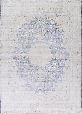 Antique Muted Blue/Ivory Kirman Persian Hand-Knotted 10'x13' Distressed Wool Rug