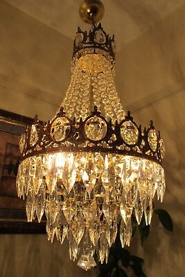Antique Vintage.French Basket Style Crystal Chandelier Lamp Light 1940's.14 in.