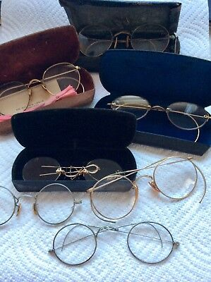 Vintage Eyeglass Lot 7 Pair Some 12k GF 1 Pair Pince Nez