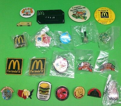 22 McDonald's Restaurant Employee & Advertising Metal Pin Back Buttons Badges ++