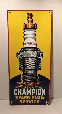 Vintage Champion Spark Plugs Porcelain Gas Station Dealership Advertising Sign