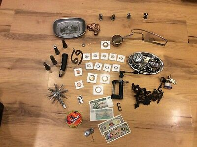 Vintage Junk lot cast iron copper ore currency coins pewter Avon bears give us t