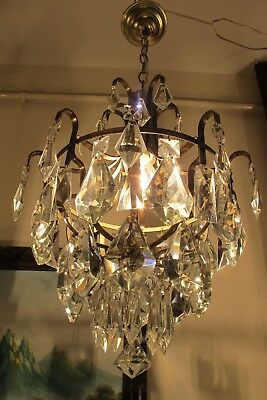 Antique Vintage French Basket Style Crystal Chandelier Light Lamp 1960's 12 in..