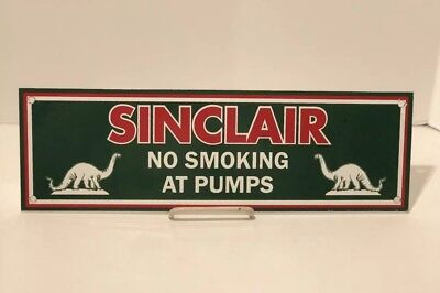 "Vintage Sinclair Gasoline Motor Oil Gas 16"" X 5"" Porcelain Metal Sign Pump Plate"