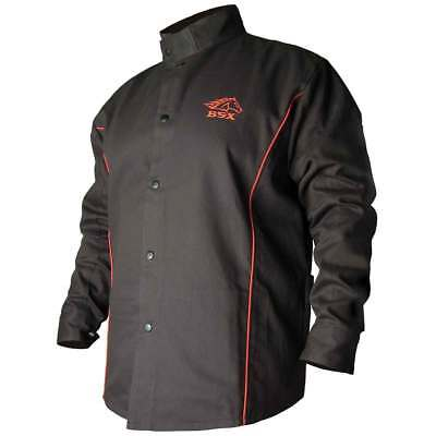 Black Stallion B9C BSX Contoured FR Cotton Welding Jacket, Black/Red, Large