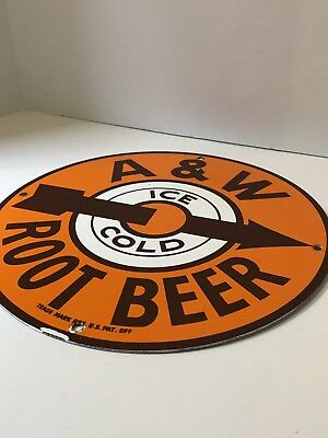 Vintage A&w Porcelain Metal Round Sign Root Beer Soda Pop Advertising Rare