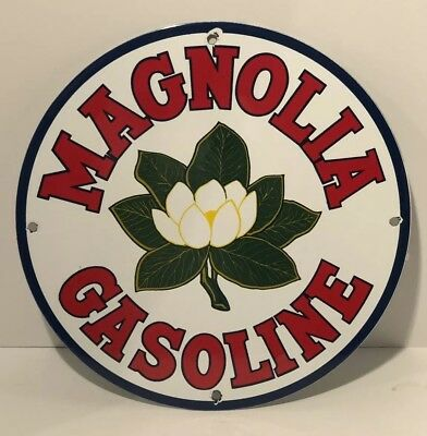 "Vintage 12"" Magnolia Gasoline Porcelain Gas Station Pump Plate Advertising Sign"