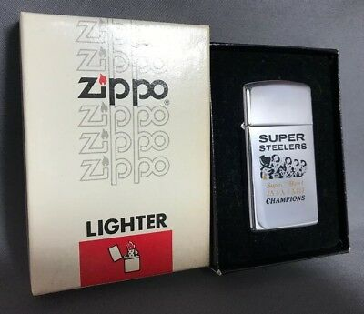 Zippo Lighter Super Bowl NFL Pittsburgh Steelers Slim box Football Vintage 1975