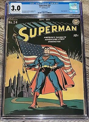 Superman 24 CGC 3.0 DC 1943 OW/W Pages Classic Patriotic American Flag Cover