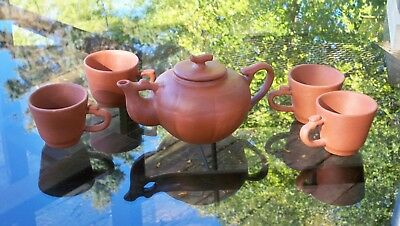 Chinese Small Red Clay Teapot and 4 Cups