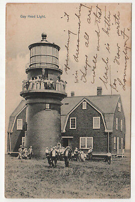 1910 MARTHA'S VINEYARD Massachusetts PC Postcard GAY HEAD LIGHTHOUSE Light