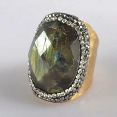 Size 6.5 Natural Labradorite Faceted Pave Zircon Ring Gold Plated T073840