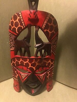 Wood African Tribal Mask Hand Carved In Kenya Wooden African Art Home Decor