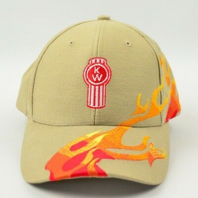 3451be2566d Genuine kenworth tan with orange flames logo trucker hat cap free shipping  jpg 400x400 Hat with