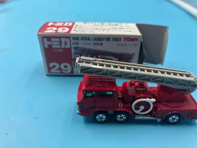 TOMY #29 HINO AERIAL LADDER FIRE TRUCK Mint in box made in Japan