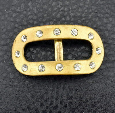 Antique Art Deco Crystal Glass Inlaid Satin Finish Belt Buckle