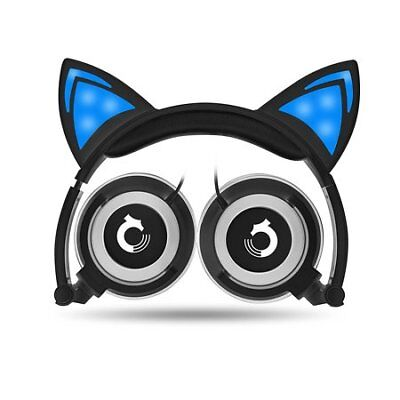 Cat Ear Headphones Foldable Over-Ear Gaming Headsets Wired Earphone w LED Glow