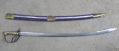 Authentic Indian Shamshir Dress Sword with Rare Blue Scabbard & Decorative Blade
