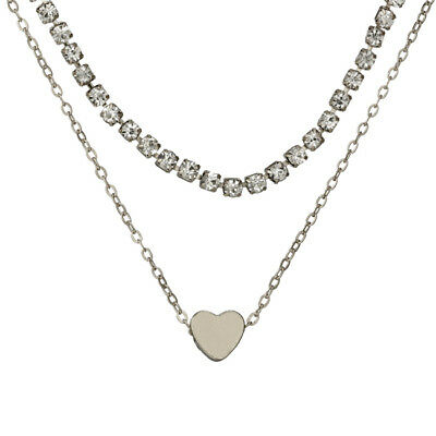 Simple Double Layers Chain Heart Pendant Necklace Choker Women Jewelry L