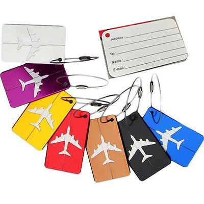 1pc Aluminium Travel Luggage Baggage Tag Suitcase Identity Address Name Labels L