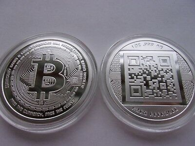 Bitcoin 1 Oz .999 Silver Coin Commemorative Aocs Limited No Longer Minted Rare